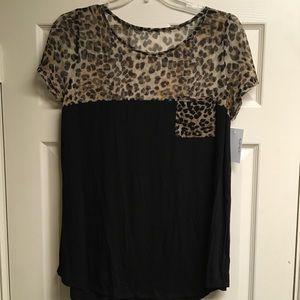 2XL Black & Cheetah Top